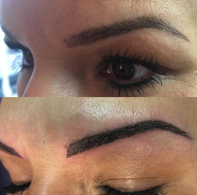visage avec dermopigmentation des sourcils